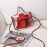 Mdsfe Bolso de Hombro de PVC Transparente para Mujer de Moda de Verano, Bolso de Hombro de gelatina, Bolso de Mano móvil Sweet Lady Tote - Rojo