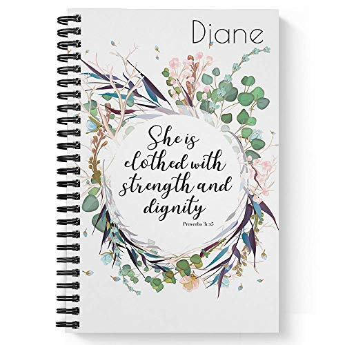 """Clothed With Strength Personalized Religious Notebook/Journal, Laminated Soft Cover, 120 pages of your selected paper, lay flat wire-o spiral. Size: 5.5"""" x 8.5"""". Made in the USA"""