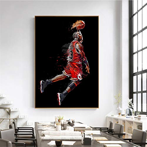 XXW Abstract Art Painting Michael Jordan Poster Fly Dunk Basketball Wall Pictures For Living Room Decoration Bedroom Sport Canvas