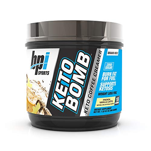 BPI Sports Keto Bomb – Ketogenic Coffee Creamer – Supports Weight Loss, Energy, Hydration, Performance – Contains MCTs & Electrolytes – Zero Sugar – French Vanilla Latte - 18 Servings – 16.5 oz.