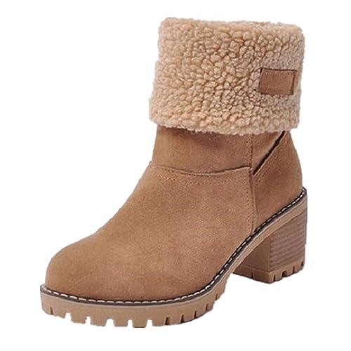 NEOKER Femme Bottes de Neige Fourrure Chaud Mode Courts avec Doublure  Bottines Haut Talon Hiver Chaussures 2c5a4e12b287