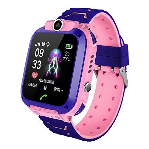 Smartwatch infantil – Câmera de posicionamento inteligente Q12, relógio de pulso digital à prova d'água para iOS Android, rosa