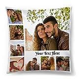 Personalisiertes FOTOGESCHENK mit eigenem Foto (45 x 45 cm) Foto-Kissen mit Deinem Foto & Text Bedrucken Zum Jahrestag, Geburtstag, Valentinstag (mit Füllung) Collage 8 Fotos [091]