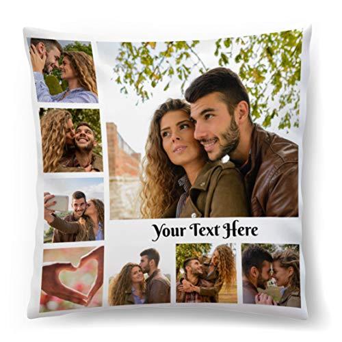 Cuscino Personalizzato con Foto 45x45 Regalo per San Valentino, Compleanno, Festa della Mamma Collage di...