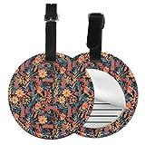 Blooming Flowers - Juego de etiquetas para maleta de piel personalizada, accesorios de viaje, etiquetas redondas para equipaje Negro Negro 2 PC