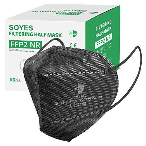 FFP2 Maske CE Zertifiziert - SOYES 50 Stück KN95 Maske - 5-lagige FFP2 Atemschutzmaske - Mundschutzmas Masken Gesichtsmaske EN 149 Staubschutzmaske Schwarz