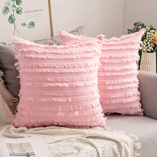 MIULEE Set of 2 Decorative Boho Throw Pillow Covers Linen Striped Jacquard Pattern Cushion Covers for Sofa Couch Living Room Bedroom 24x24 Inch Pink