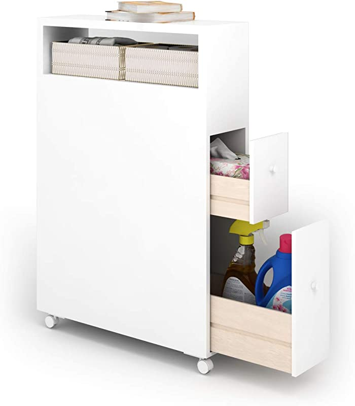 Tangkula Bathroom Storage Cabinet Wooden Rolling Bathroom Floor Cabinet Free Standing Toilet Organizer Floor Storage Cabinet With Drawers And Baskets White 20 X6 X28 5