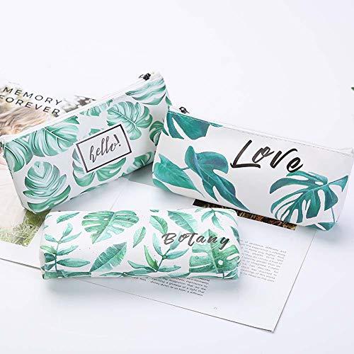 HOMIXES Federmäppchen 3 Paket kreative Monstera Blatt Stift federmäppchen Student schreibwaren große kapazität mäppchen Make-up kosmetische Handtasche Schule veranstalter