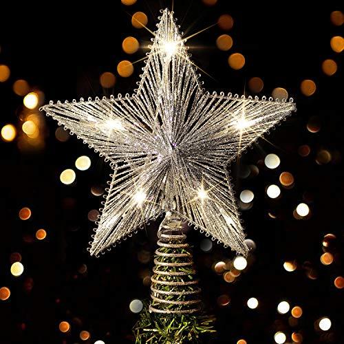 Rocinha Christmas Star Tree Topper, 10 Inch Lighted Christmas Glitter Tree Topper, Hollow Silver Star Tree Topper with 10 LED Lights for Christmas Tree Home Decoration