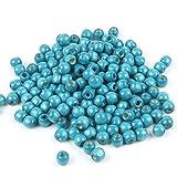 TRIXES 220 Perles en Bois Bleu Cyan 12 mm Bijoux Artisanat Collier Bracelet