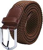 TANGCHAO Cinturón para Hombre, Cinturón Trenzado Elástico Unisex Hombres Mujeres Cinturón Tejido Elástico Trenzado Elástico para Jeans 33 mm (1.25') Multi Colores Marrón 105