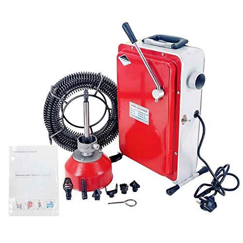 TABODD 550W Rohrreinigungsmaschine GQ-100, 220V Elektrische Hochdruckreinigungsmaschine Rohre Pipeline Baggermaschine mit 6 Bohr- und Schneidköpfe für 20mm - 110mm Abflussrohre