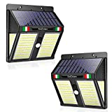 【1 ANNO DI GARANZIA INCLUSA】Eco Future Italia, 250 LED 270° Impermeabile IP65, Luci Solari Da Esterno Con Sensore Di Movimento, Lampade Solari Da Esterno, Faretti Solari LED Esterno (2 Pezzi)