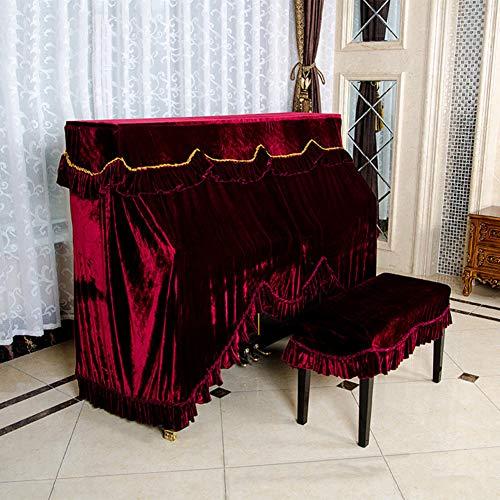 gancg Velvet Full Piano Cover Doek, Rechtop Verticale Piano Stofhoes 126-133 Rode Wijn