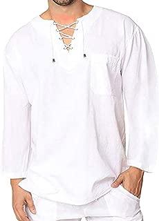 Mens Casual Long Sleeve T Shirt Cotton Yoga V Neck Hipster Beach Tees Plain Drawstring Tops