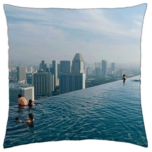 Infinity Pool at Marina Bay Sands - Singapore - Throw Pillow Cover Case (18