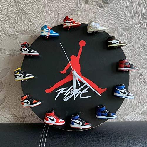 Kuingbhn Basketball 3D Stereo Schuh Modell Trend Wanduhr Küchenuhr Nicht-Tickende Uhr für Die Küche Home Office Wohnzimmer und Schlafzimmer Gelenk D.