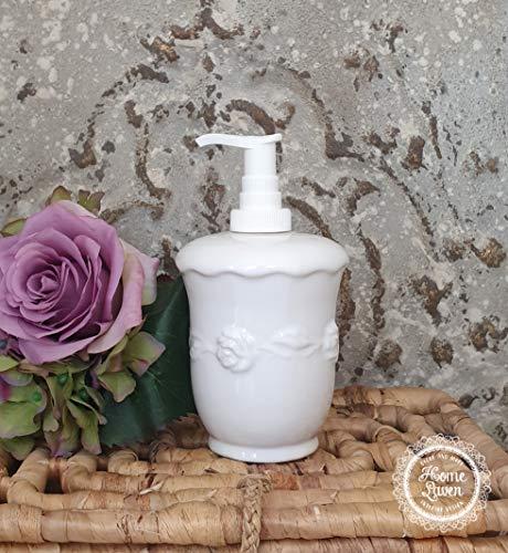 Flair Vitrine Seifenspender Flüssigseifenspender 'Juliet' Keramik weiß Landhaus Shabby