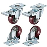 bayite 4 Pack 3' Heavy Duty Caster Wheels Polyurethane PU Swivel Casters with 360 Degree Top Plate 500lb Total Capacity for Set of 4 (2 with Brakes& 2 Without) Red