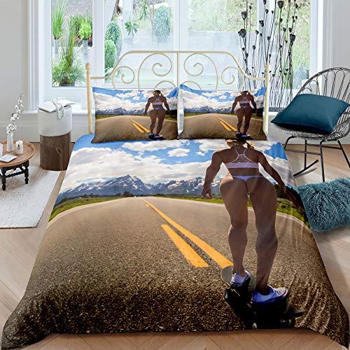 MMHJS 3D Beauty Scooter Bettbezug-Kit Mikrofaserbettwäsche Bettbezug Mit Reißverschluss Kissenbezug 3 Stück Set