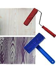 HIGHAWKウッドグレイニング ラバー 木目ゴム塗装ツール 砂目立て ペイントローラー ハンドル付き 自分設計 壁装飾 DIY ツール 2枚セット