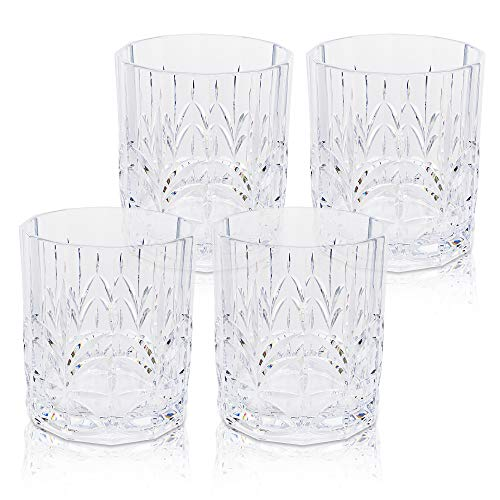BELLAFORTE - Shatterproof Tritan Short Tumbler Clear, 13oz, set of 4 Myrtle Beach Drinking Glasses - Dishwasher Safe Plastic Tumblers - Unbreakable Glassware for indoor and Outdoor Use, BPA Free