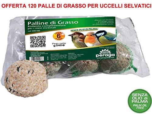 Peraga 120 boules de graisse Aliment 90 g Sans huile de palme Nourriture pour oiseaux sauvages