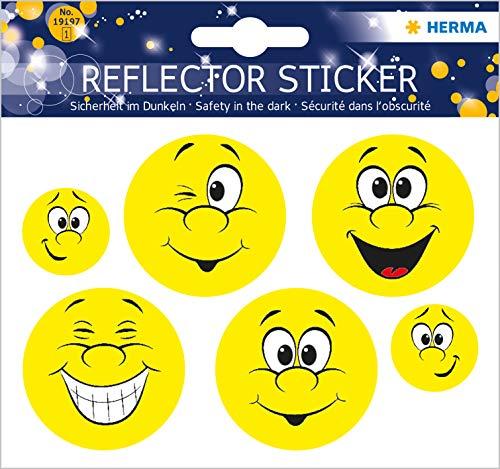 HERMA 19197 Reflektor Aufkleber mit Happy Face Motiven, selbstklebende Leuchtaufkleber für Kinderzimmer, Dekoration, Fahrrad, Fahrradhelme und Koffer, 6 Reflektorsticker für Kinder