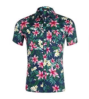 Hawaiian Shirts Mens Flower Print Beach Aloha Party Holiday Print4 L