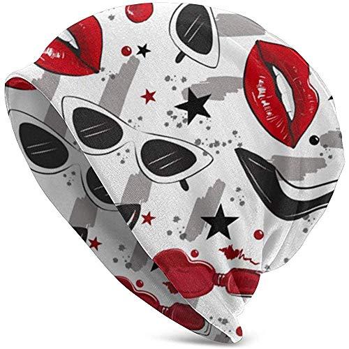 Niet van toepassing Rode Lippen Hakken Patroon Zachte Slouchy Beanie Hoeden Dagelijks Lange Baggy Schedel Cap voor Mannen Vrouwen