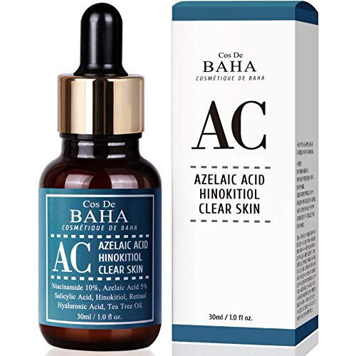 Alcohol Free Acne Treatment Intensive Facial Serum with Azelaic acid 5%, Niacinamide 10%, Salicylic Acid, Retinol, Tea Tree - Fast & Efficient Cystic Acne, Age-Defying Formula 1oz(30ml)