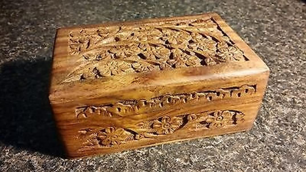 エイリアス月面家禽4?x 6?Carved Woodenボックス花柄デザインタロットまたはIncenseボックス/ハーブストレージ~インド