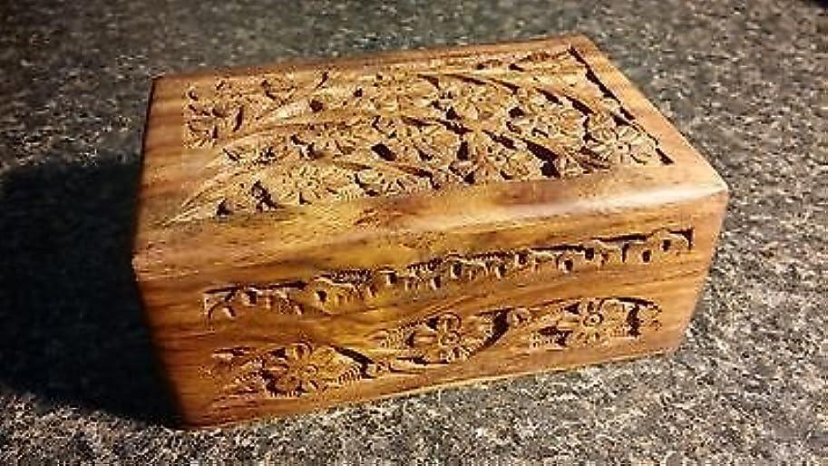 ショルダー空白ハグ4?x 6?Carved Woodenボックス花柄デザインタロットまたはIncenseボックス/ハーブストレージ~インド