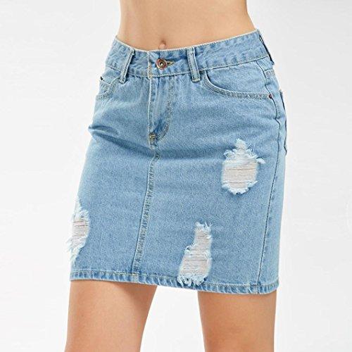 Toamen Jeans Femmes Jupe trou de denim Hole Button Jupe courte Style unique beau élégant Mode (S, Bleu)
