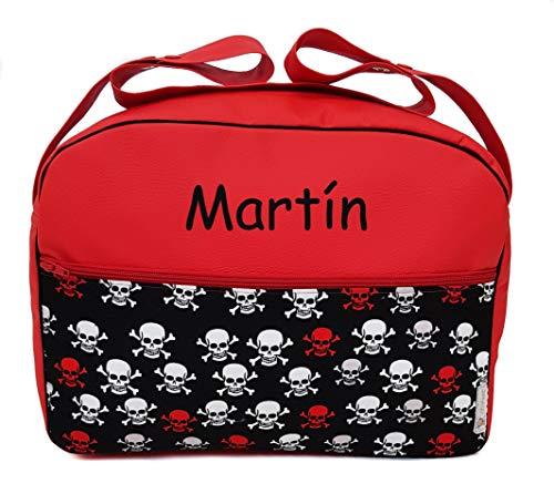 Maxi bolso para carrito, bolsa para carro de bebé BORDADA CON EL NOMBRE del bebé. Modelo Calaveras rojo