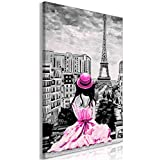 murando Paris Impression sur Toile intissee 60x90 cm 1 Piece Tableau Tableaux Decoration Murale Photo Image Artistique Photographie Graphique City Tour Eiffel Femme Gris Rose h-C-0118-b-d