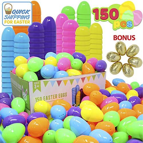 Joyin Toy 144 Pezzo 2 3/8' Uova di Pasqua + 6 Uova d'oro per Il riempimento Treats specifici, Tema di Pasqua Favore di Partito, Uova di Pasqua Hunt, Basket Stuffers Fille