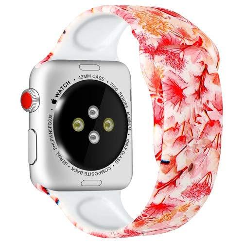 MOODER Correa compatible con Apple Watch Band 44 mm, 40 mm, 42 mm, 38 mm, silicona impresa, pulsera compatible con correa Iwatch compatible con Apple Watch Series 4 3 6 5 SE