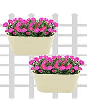 Klaxon Railing Planters - Oval Hanging Railing Planters for Balcony (12 Inch, Beige - 2 PCS)