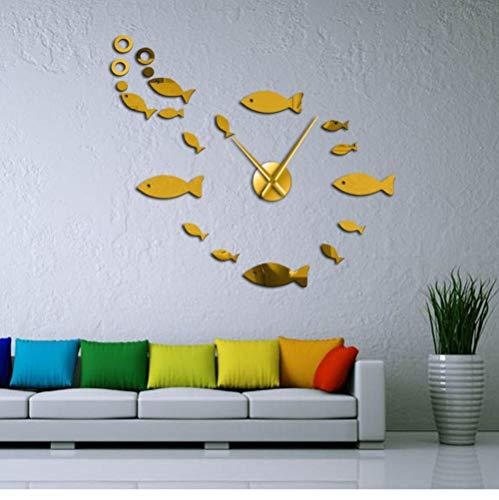 ZYZYY 37 inch vis met blaas doe-het-zelf reuze-stille wandklok spiegeleffect muurkunst wooncultuur aquarium decoratie frameloze grote naald klok goud