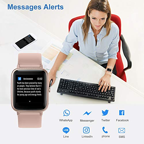 YAMAY Smart Watch Fitness Tracker Watches for Men Women, Heart Rate Monitor IP68 Waterproof Digital Watch with Step Sleep Tracker Call Message Alerts,Smartwatch Compatible iPhone Android Phones Pink 4