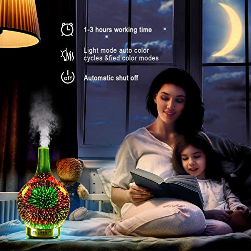 Essential-Oil-Diffuser-3D-Glass-Starry-Sky-Aromatherapy-Oil-Diffuser-Cold-Mist-Ultrasonic-Humidifier-with-7-Color-Changing-LED-120ml-Home-Office-Yoga-Baby-SleepWater-Shortage-Automatic-Shutdown