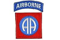 タブ付 第82空挺師団 米陸軍 AA ワッペン エアボーン 部隊章 ベルクロ付 赤青白