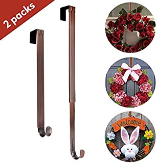 AnCintre Wreath Hanger, 2 Pack Adjustable Length from 15 to 25 Inches Fall Wreath Hanger for Front Door Heavy Duty with 20LB Metal Door Hooks Holder for Christmas Decorations