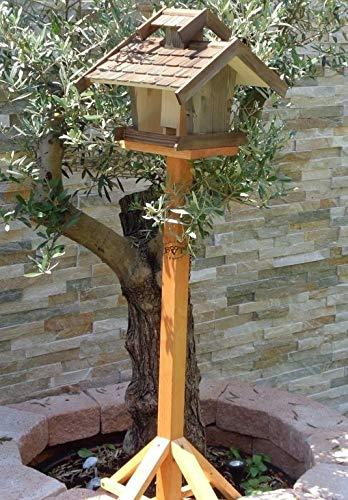 Vogelhäuser mit ständer BTV-VOVIL4-MS-at002 Großes PREMIUM Vogelhaus KOMPLETT mit Ständer wetterfest lasiert, WETTERFEST, QUALITÄTS-SCHREINERARBEIT-aus 100% Vollholz, Holz Futterhaus für Vögel, MIT FUTTERSCHACHT Futtervorrat, Vogelfutter-Station Farbe schwarz lasiert, anthrazit / Holz natur, Ausführung Naturholz MIT TIEFEM WETTERSCHUTZ-DACH für trockenes Futter