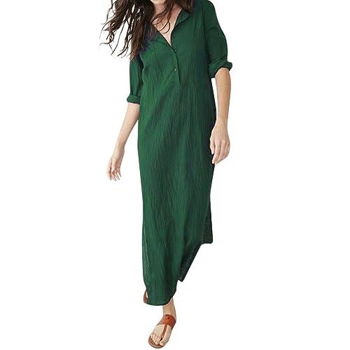 8791aeec9d OYSOHE Women抯 Long Sleeve Dress O-Neck Button Baggy Cotton Linen Splits Maxi  Dress