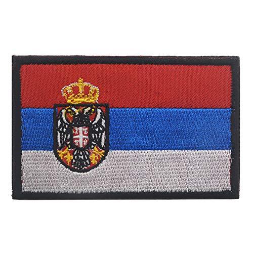 Aufnäher mit Serbien-Flagge, bestickt, zum Aufbügeln oder Aufnähen – Emblem, taktisch, militärisch, Moral, lustige Aufnäher, Applikationen mit Klettverschluss