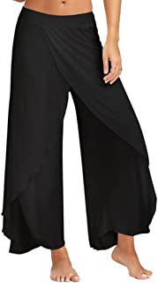 ZEZCLO Women High Slit Flowy Layered Crooped Casual Palazzo Pants