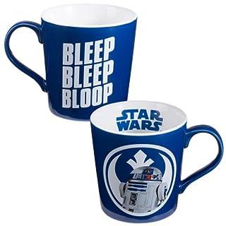 اسعار Vandor Set of Star Wars, Blue And White 12oz Ceramic R2D2 Mugs,Bleep Bleep Bloop 5 Inches Long by 3.75 Inches Tall by 3.75 Inches in Diameter
